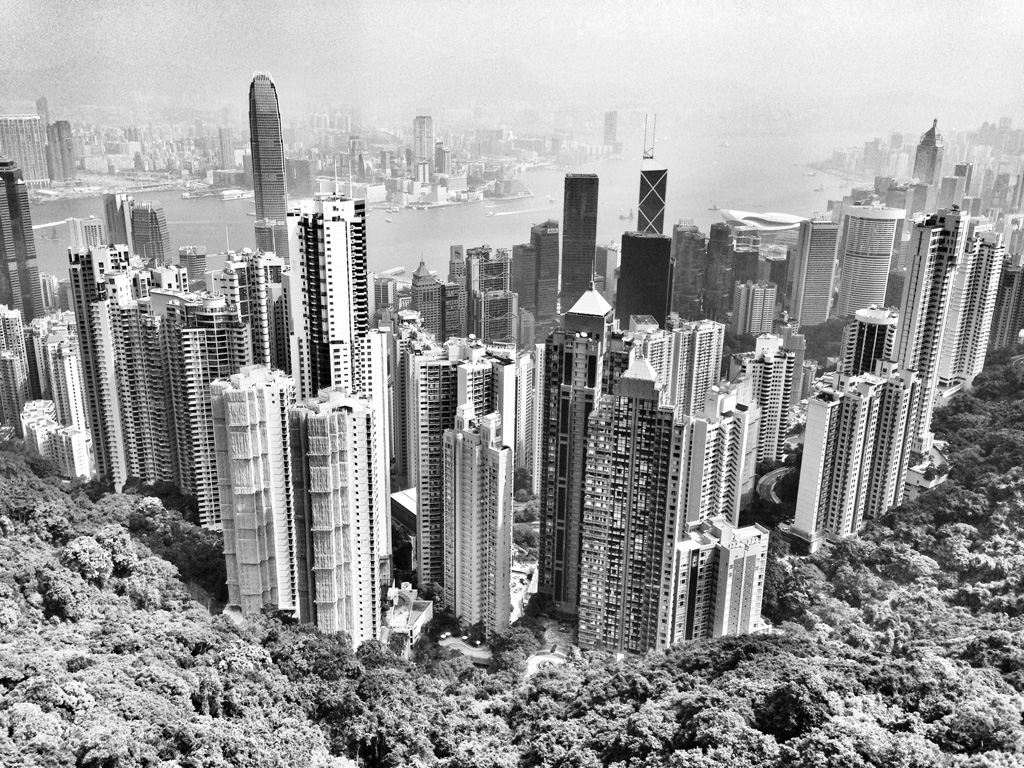 a view of Hong Kong from the top of Victoria Peak